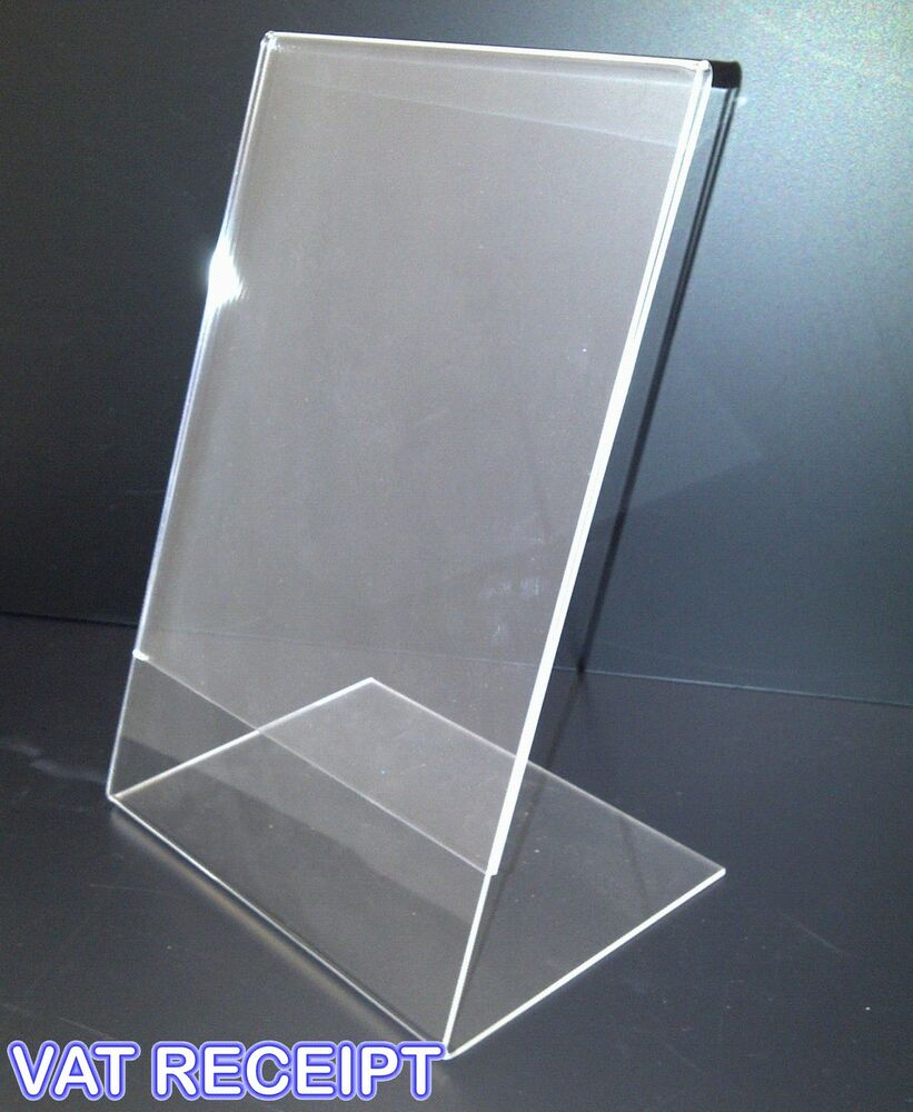 A4 Portrait Counter Poster Holder Perspex Retail Shop