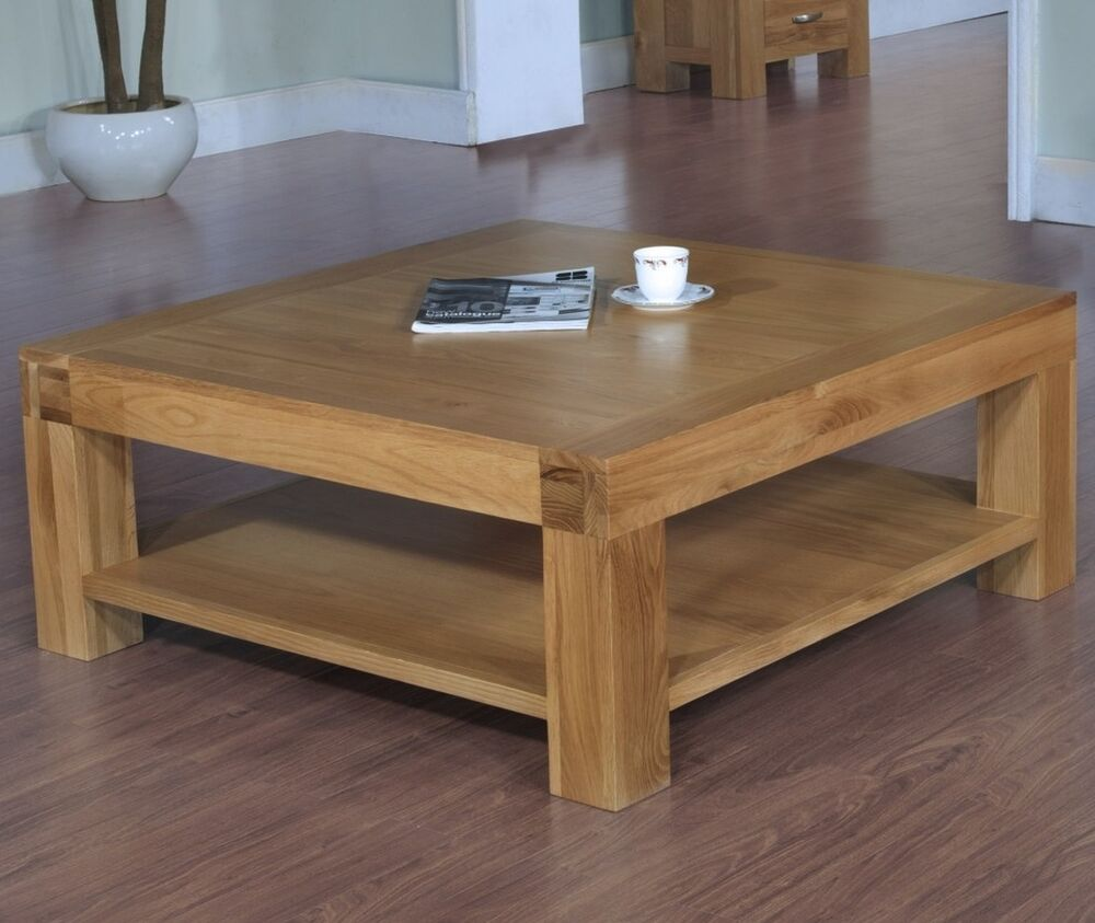 Langton solid contemporary oak furniture square coffee table with shelf ebay Square coffee table with shelf