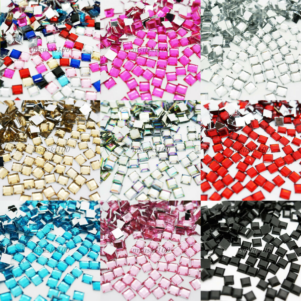 1000 square rhinestones acrylic gems flat back nail art for Plastic gems for crafts