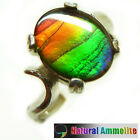 Ammolite Sterling Silver Ring Size 6 red and green