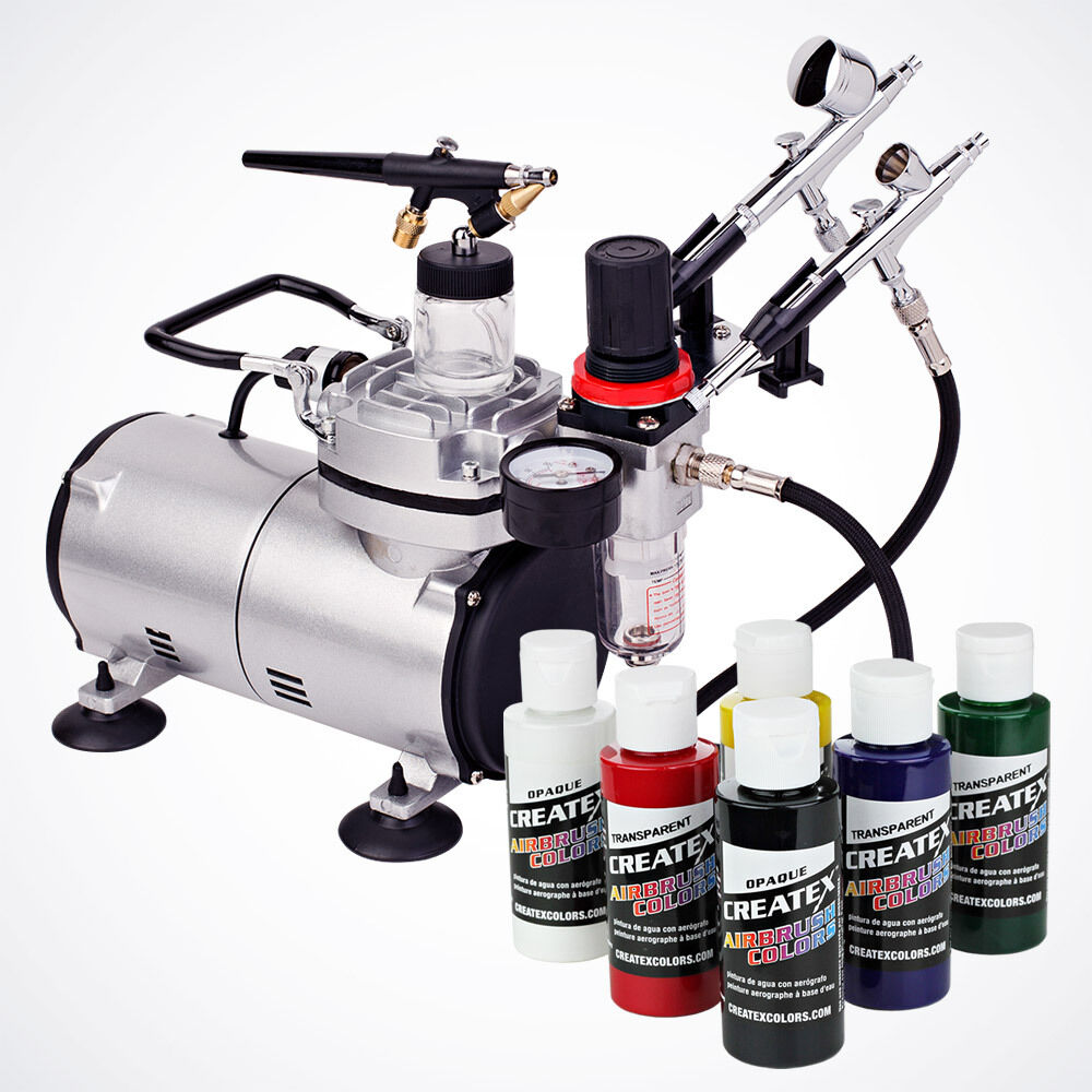 New 3 airbrush kit 6 primary colors air compressor dual for Do airbrush tattoos come off in water