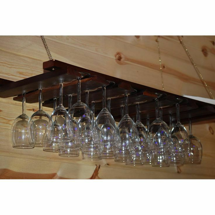 American Metalcraft Hanging Glass Rack Gr1435 Wood