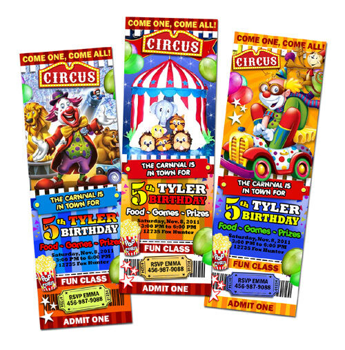 circus carnival clown birthday party invitation ticket
