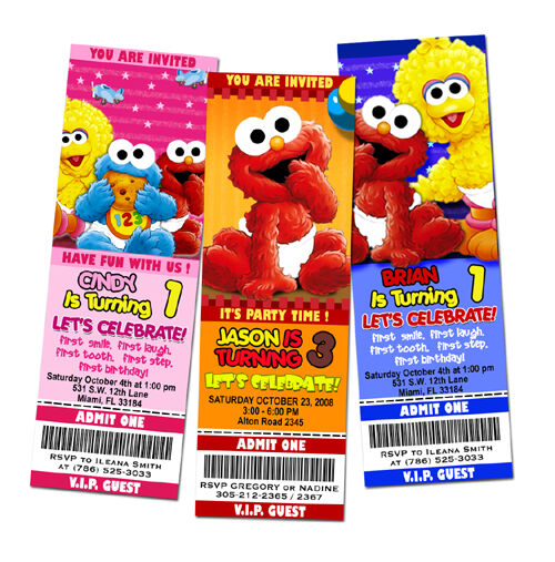 ELMO SESAME STREET BIRTHDAY PARTY INVITATION TICKET 1ST - baby babies first -c1 | eBay