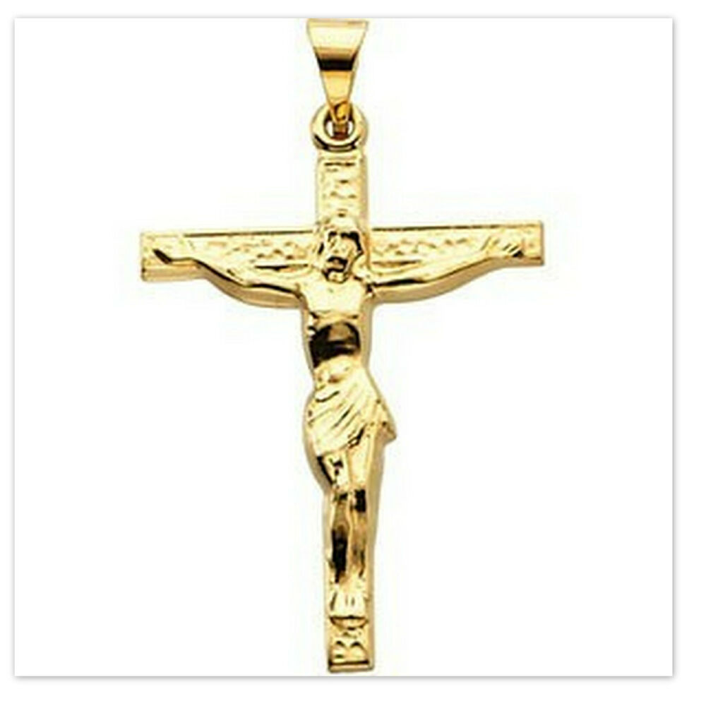 14k yellow gold four crucifix necklace pendant catholic