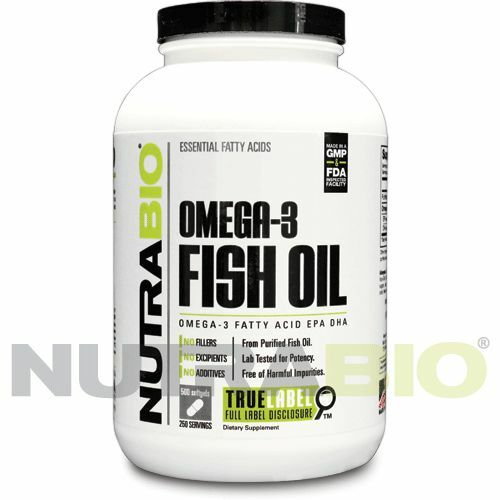 Nutrabio fish oil 1000mg 500 soft gels high in omega 3 for High dha fish oil