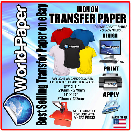 Iron on t shirt heat transfer paper light fabric pl dark for Printing t shirt transfers