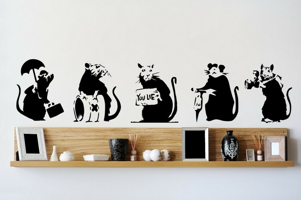 Banksy style collection of rats x 5 graffiti art large for Banksy rat mural