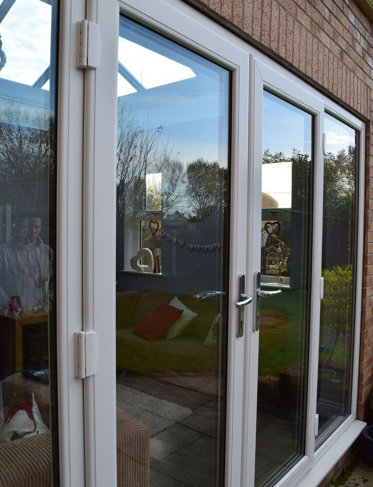 White french patio doors white upvc double doors ebay for Double opening french patio doors