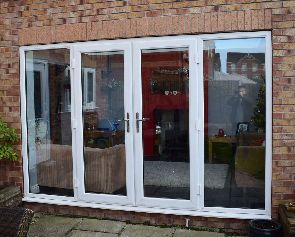 White french patio doors open out 1000 1200mm wide for Upvc french doors inward opening