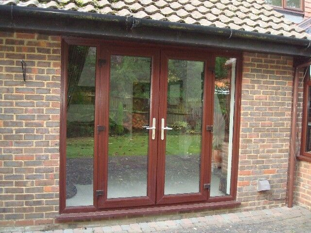 mahogany upvc french doors window new made to