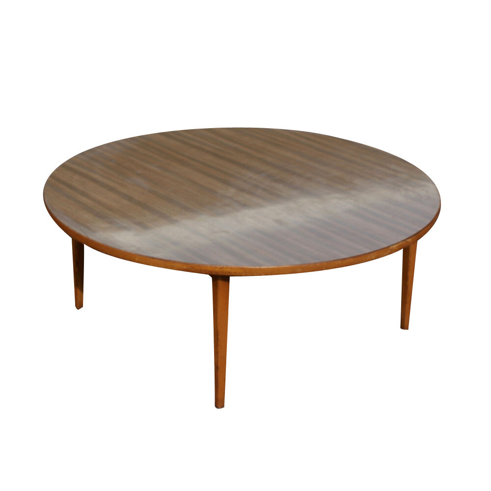 Round Wood Hairpin Coffee Table: Vintage Mid Century Wood Coffee Table (MR11465)