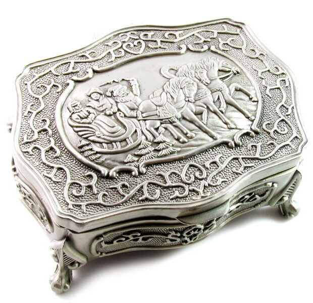 Vintage antique metal jewelry boxes will