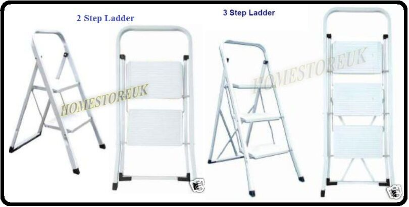2 Amp 3 Tier Tread Step Ladder Metal Folding Foldable
