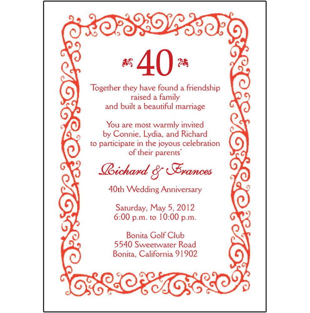 10 Year Wedding Anniversary Invitations: 25 Personalized 40th Wedding Anniversary Party Invitations