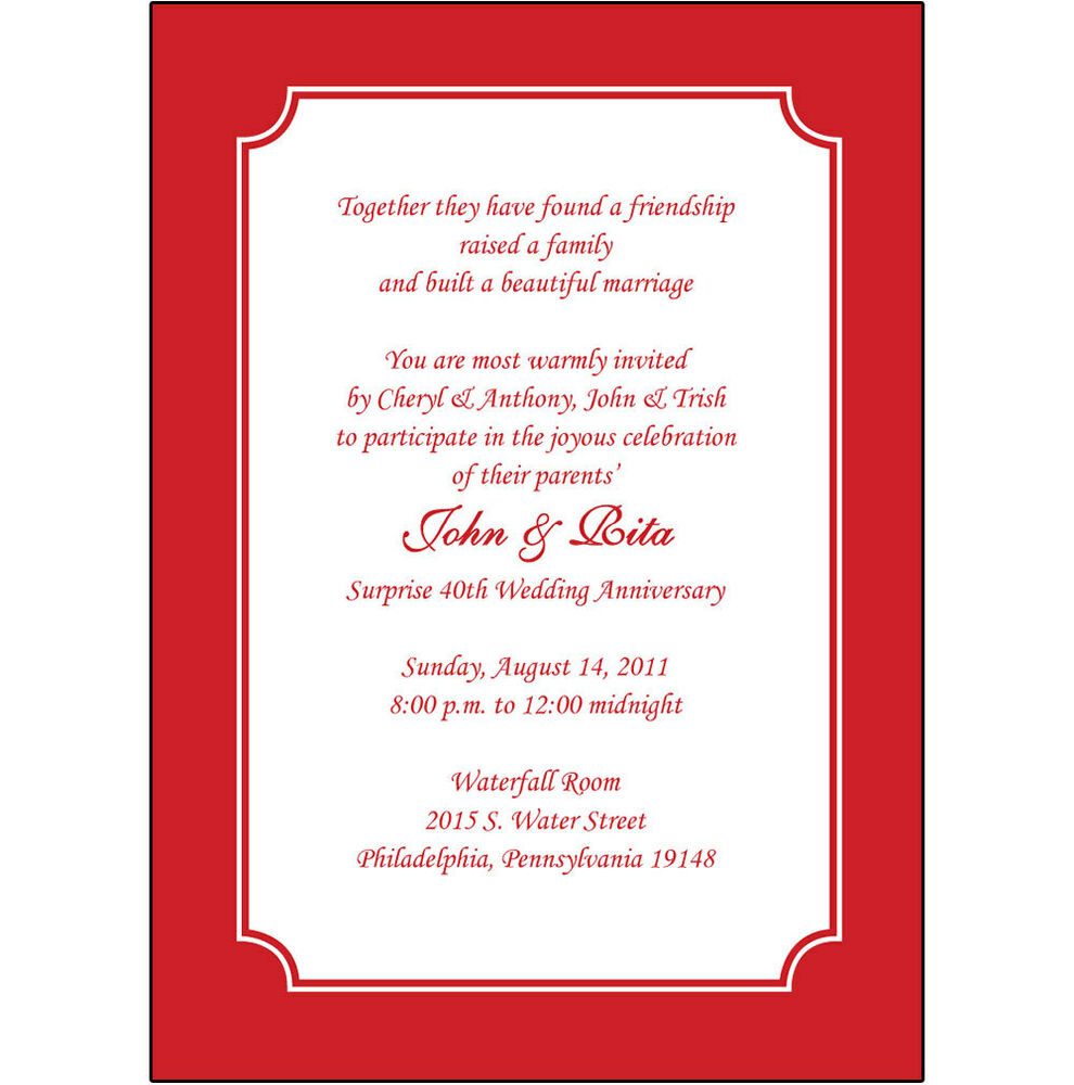 25 Personalized 40th Wedding Anniversary Party Invitations - AP-003 ...