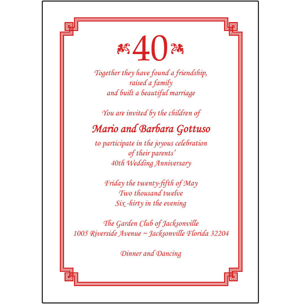 Wedding Invitations Spanish: 25 Personalized 40th Wedding Anniversary Party Invitations