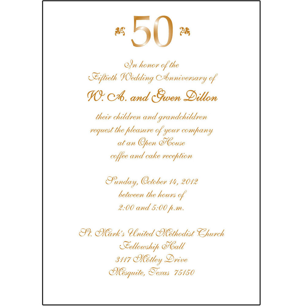 25 Anniversary Gift For Parents >> 25 Personalized 50th Wedding Anniversary Party Invitations - AP-007 | eBay