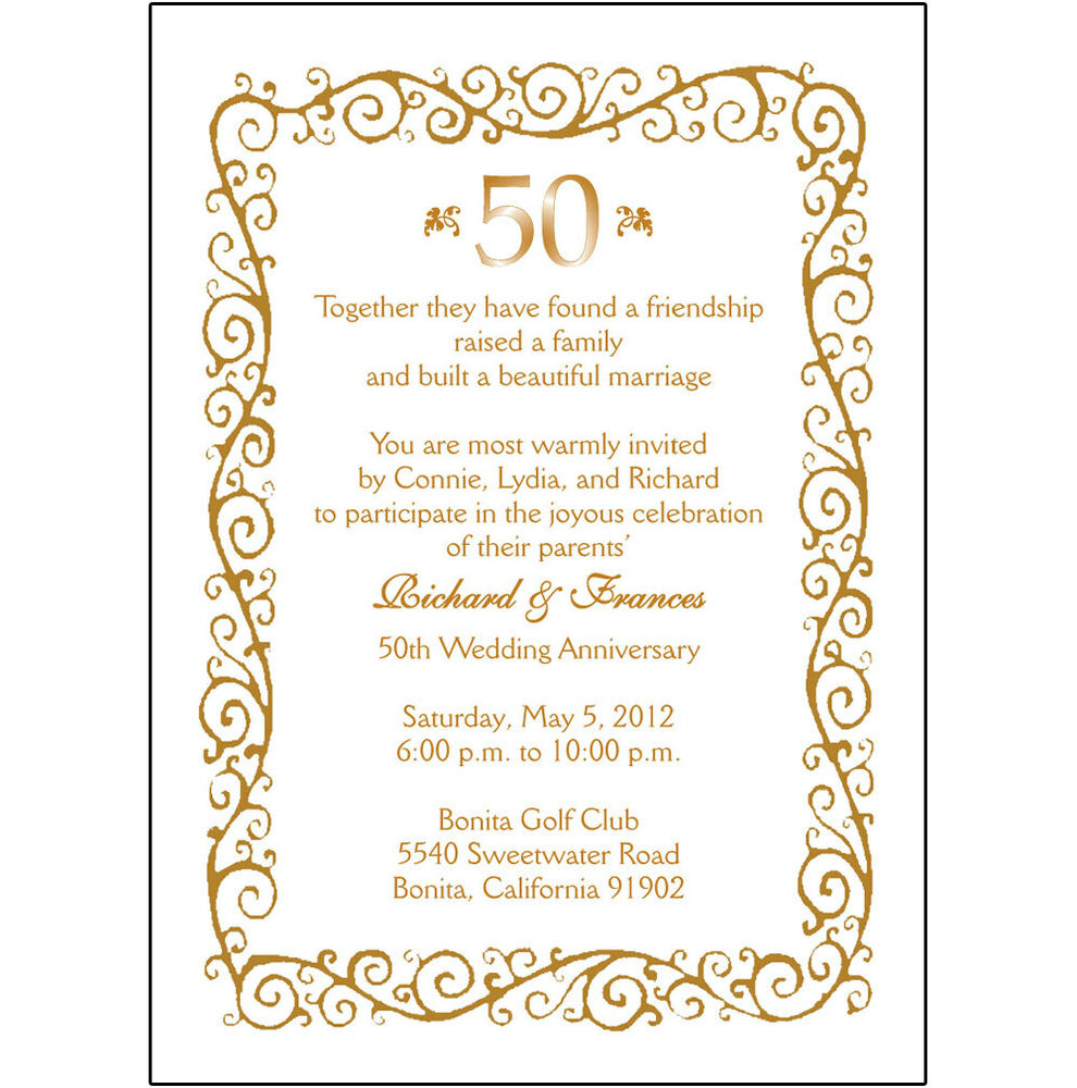 50th Wedding Anniversary Graphics: 25 Personalized 50th Wedding Anniversary Party Invitations