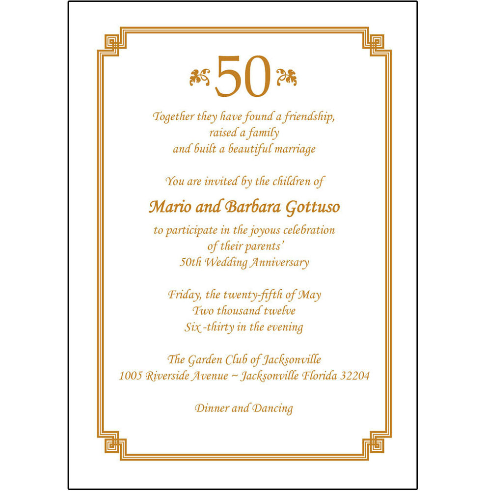Details about 25 Personalized 50th Wedding Anniversary Party Invitations - AP-009