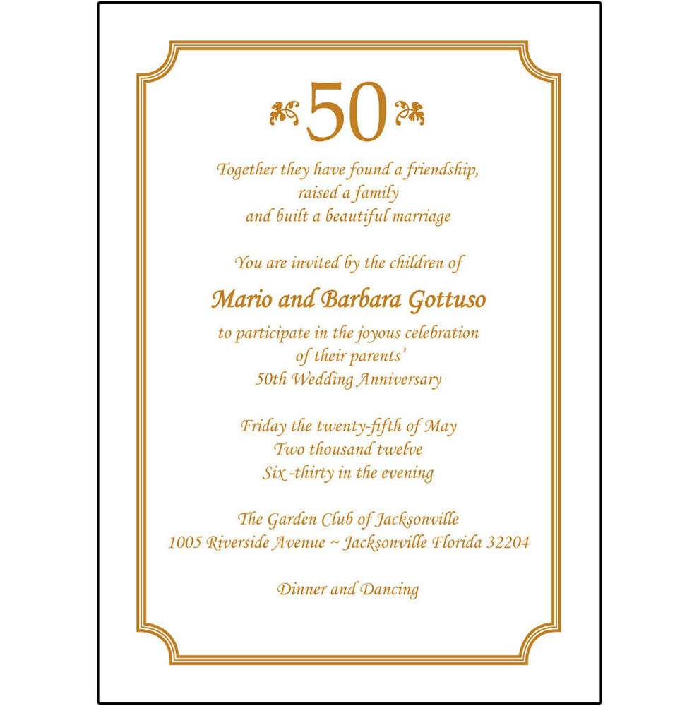 50th Wedding Anniversary Poems: 25 Personalized 50th Wedding Anniversary Party Invitations