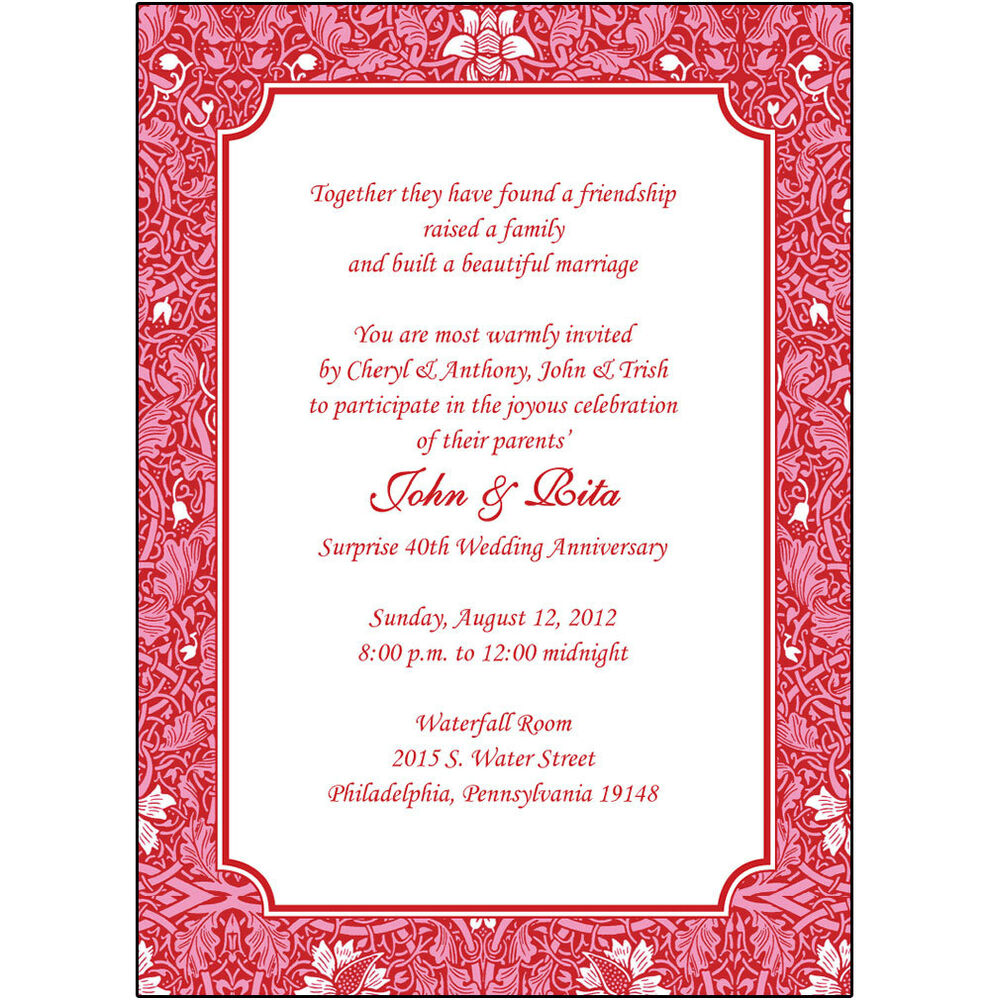 Wedding Party Invitations: 25 Personalized 40th Wedding Anniversary Party Invitations
