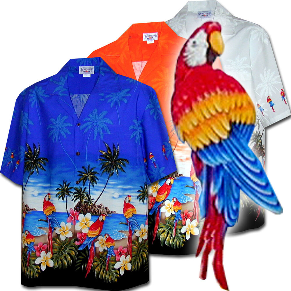 Wild parrots men 39 s tropical hawaiian shirts 440 3468 new for Made in canada dress shirts