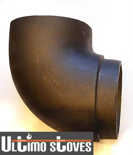 Solid cast iron ° angle elbow bend for wood stove flue