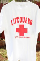NEW Hawaiian Design White Men T-shirt ~ LIFEGUARD NORTH SHORE BEACH HAWAII