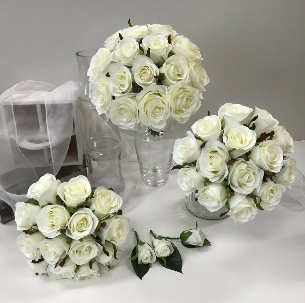 silk flower wedding bouquet red white rose diamontie posy bridal bouquets ebay. Black Bedroom Furniture Sets. Home Design Ideas
