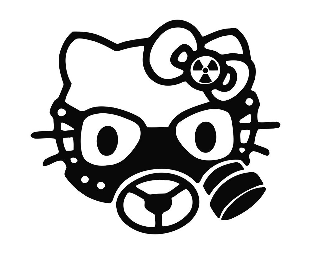 hello kitty gas mask bio hazard decal sticker car truck