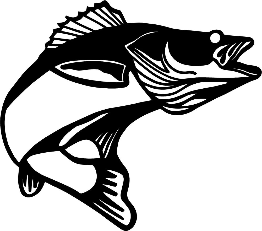 Walleye pickerel fish decal choose color for Free fishing stickers