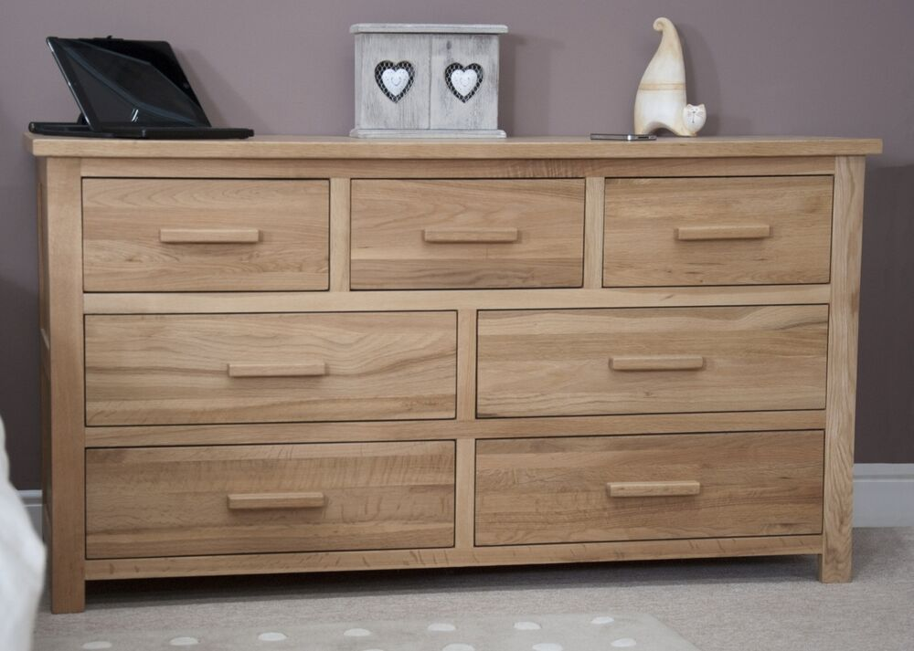 Nero Solid Oak Furniture Large Bedroom Wide Chest Of Drawers Ebay