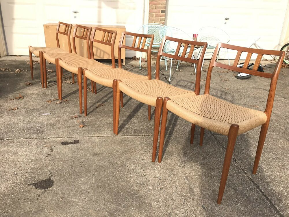 Danish modern j l moller teak dining table chairs ebay