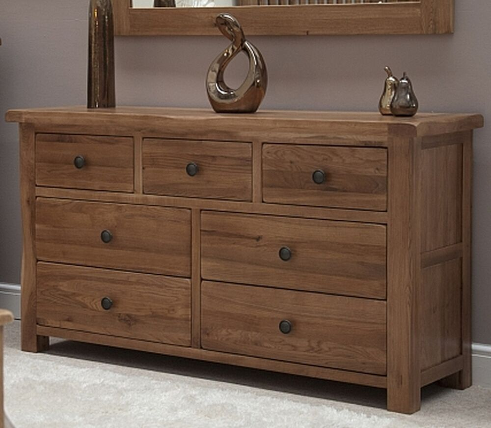 Warwick solid oak bedroom furniture large wide multi chest for Bedroom furniture chest of drawers