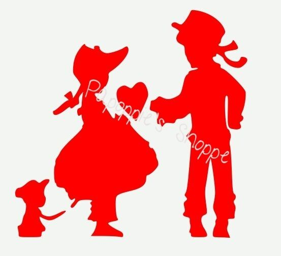 Stencil Valentine Colonial Boy Girl Puppy Sweetheart Heart