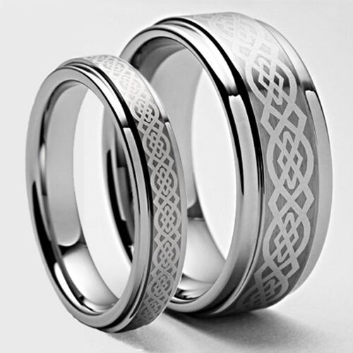 Custom his her celtic tungsten carbide ring set wedding for Tungsten carbide wedding ring sets