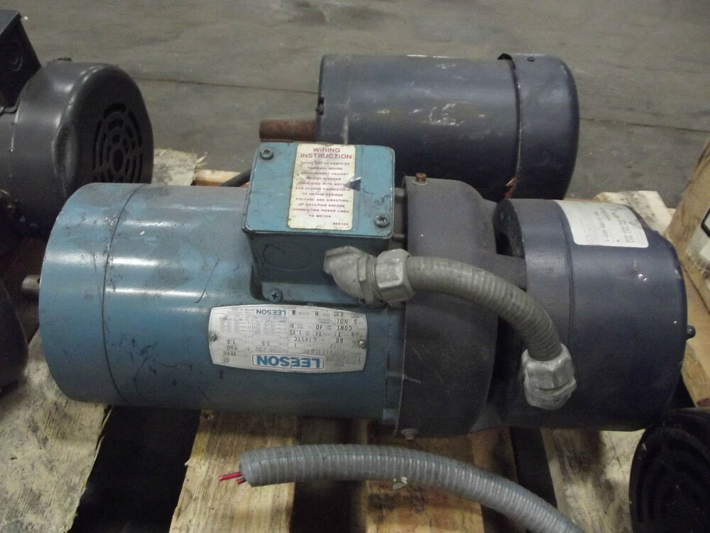 Leeson 1hp 3 phase industrial motor with brake ebay for 1hp 3 phase motor