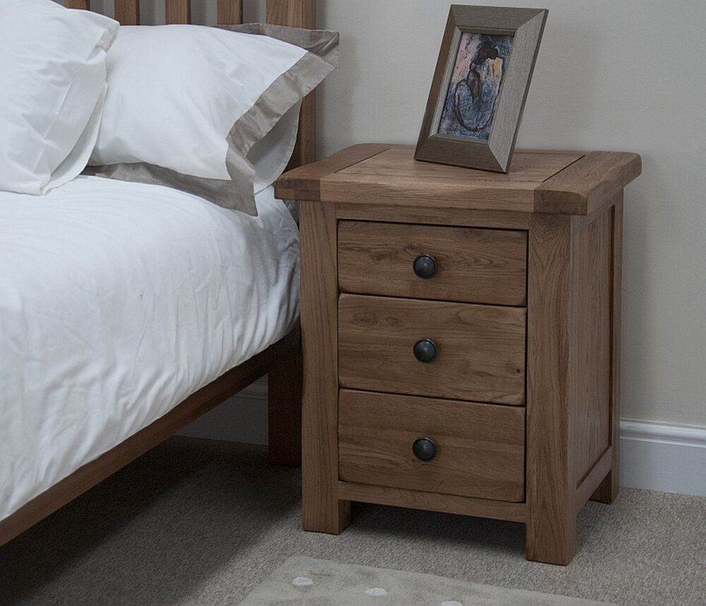 Cabinet Bedroom Furniture: Brooklyn Solid Oak Bedroom Furniture Three Drawer Bedside
