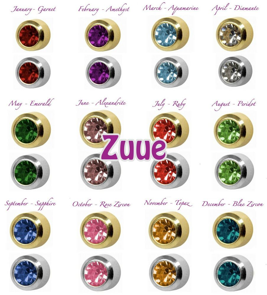 Studex Plus Birthstones Gold Plated Amp Steel Bezel Set Ear
