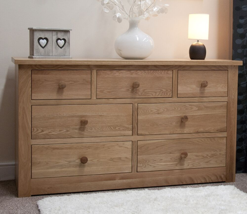 Vermont solid oak bedroom furniture large chest of drawers for Bedroom furniture chest of drawers