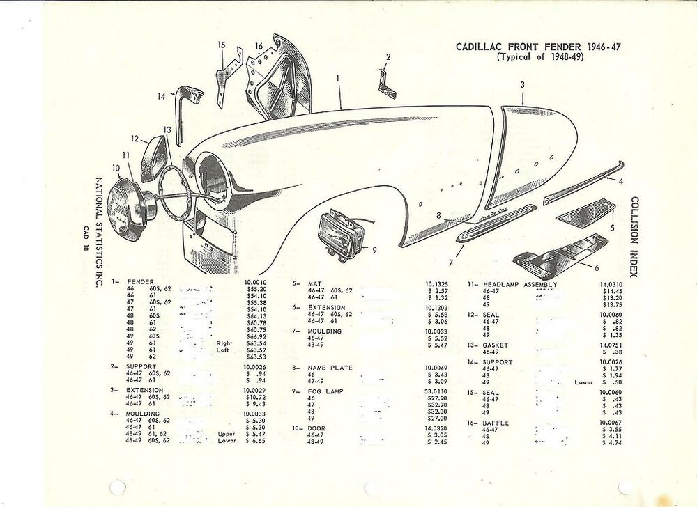 1941 42 46 47 48 49 Cadillac Front Fender NOS Parts Guide ...