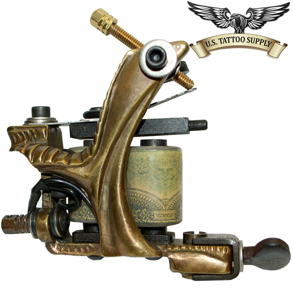 Custom carved brass stick tattoo machine with free mag