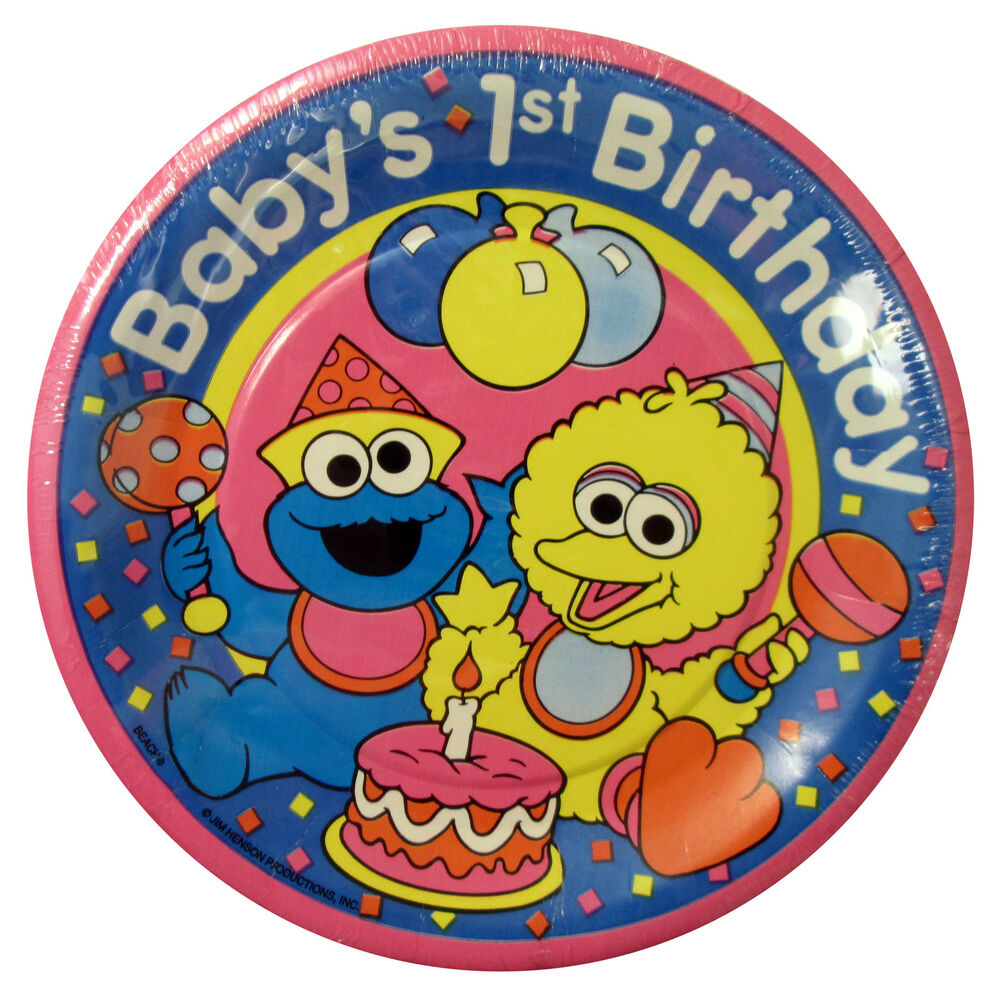Baby SESAME STREET SMALL PLATES (8) ~ FIRST 1st BIRTHDAY ...