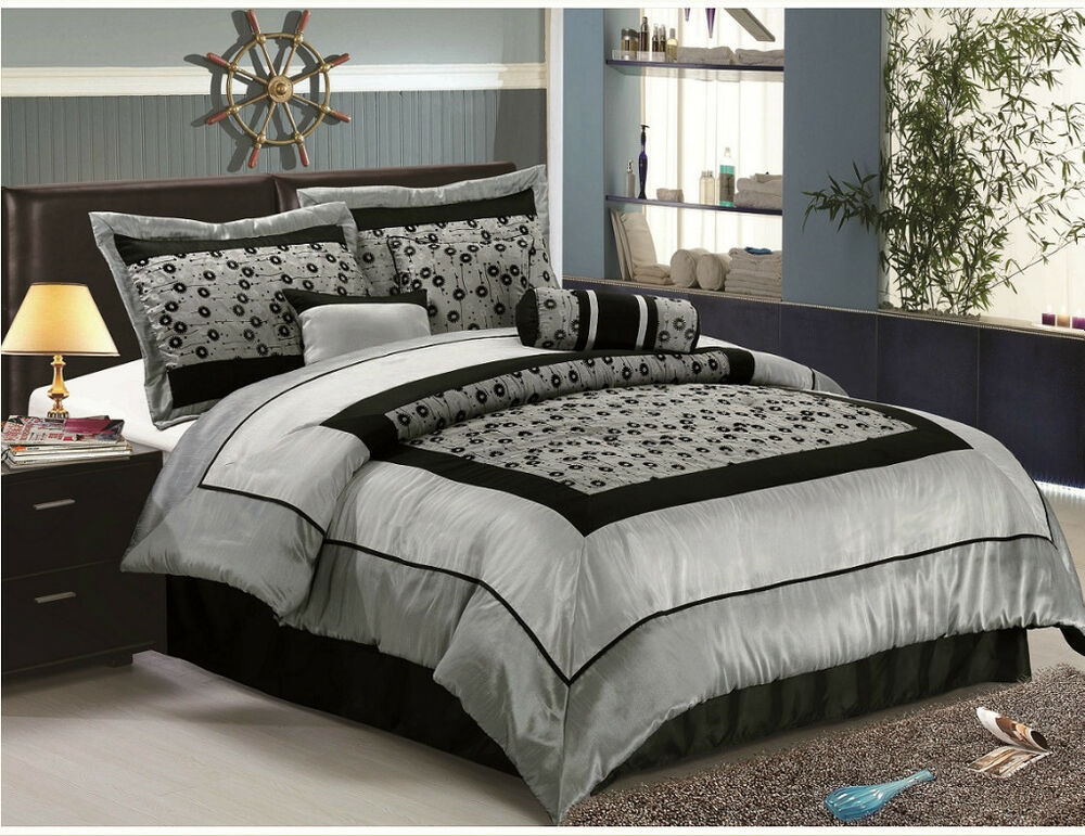 Faux Silk Flocking Comforter Set Bedding-in-a-bag, Silver