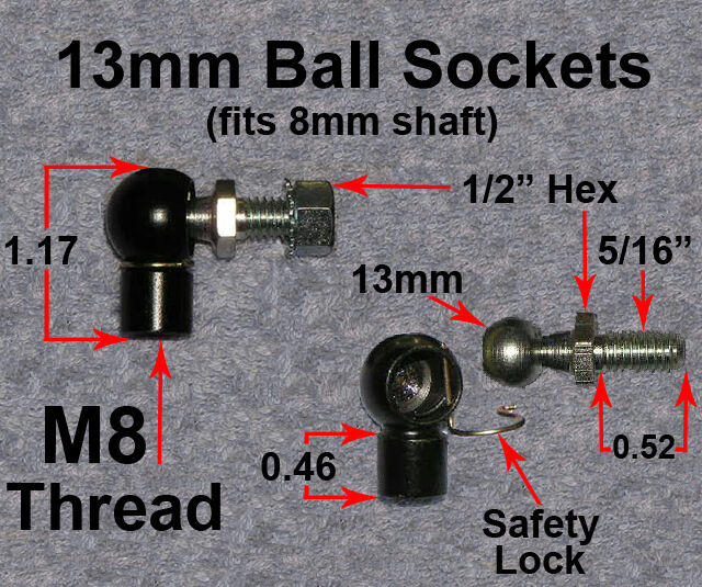 Ebay Motors Fees >> 2ea 13MM Ball Socket Kit Gas Strut Shock Spring Lift End ...