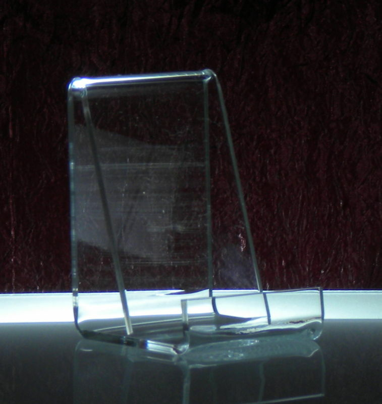 Open ended acrylic vertical business card holder stand