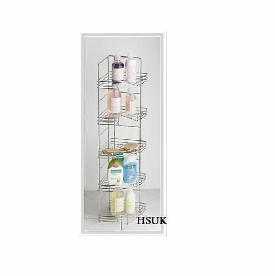 5 Tier Chrome Wire Corner Storage Rack Stand Shelf Unit Toilet Bathroom Pre559 Ebay