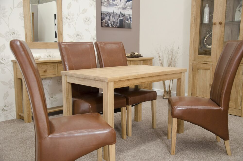 munira solid oak furniture dining table and four tan
