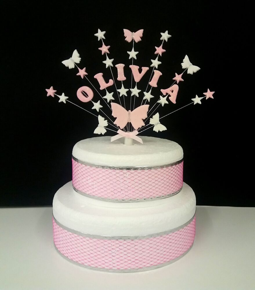 Butterfly Cake Decoration Uk : Personalised Butterfly and star birthday, christening cake ...